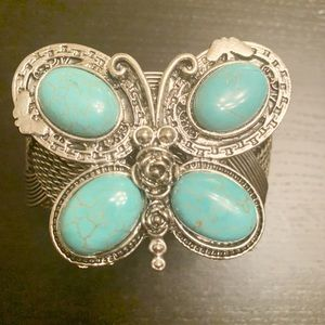 Butterfly turquoise silver chunky